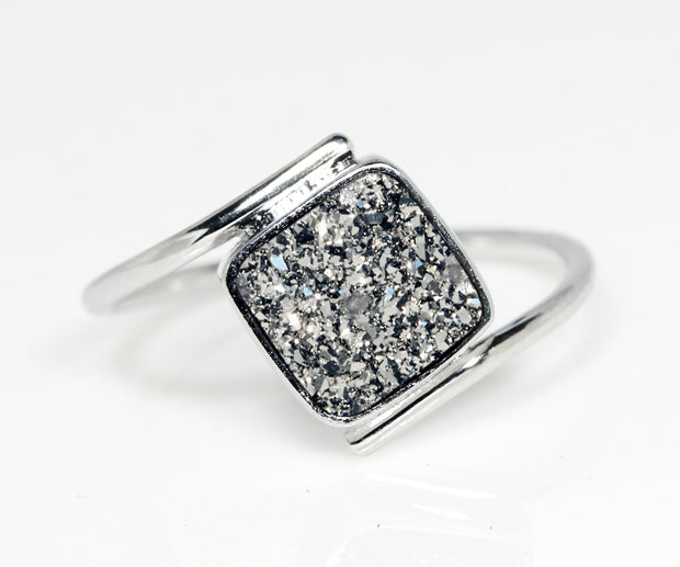 Bypass Square Platinum Druzy Ring