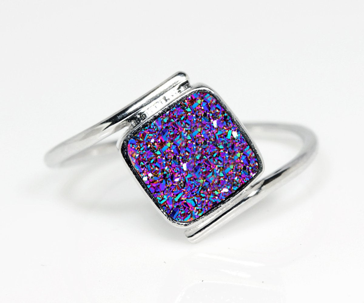 Bypass Square Purple Rainbow Druzy Ring