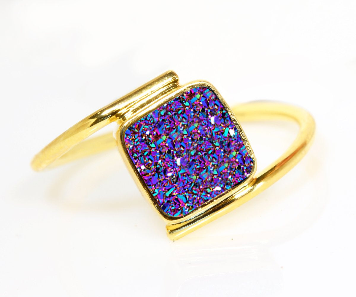 Bypass Square Purple Rainbow Druzy 14k Ring