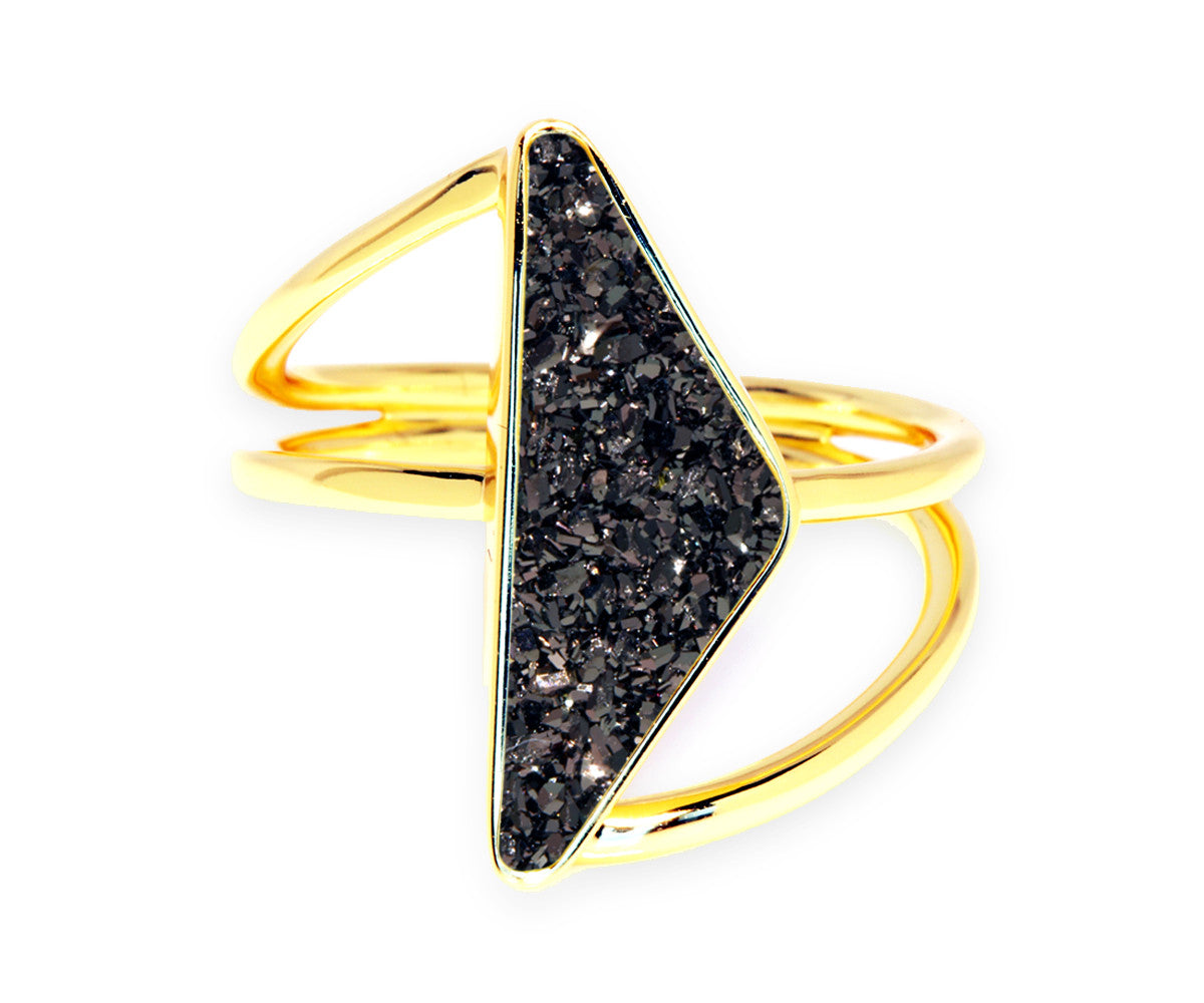 Double Twist Black Druzy 14k Gold Ring