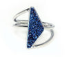 Double Twist Blue Druzy Ring