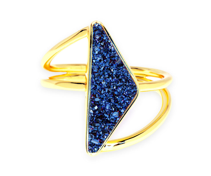 Double Twist Blue Druzy 14K Gold Ring