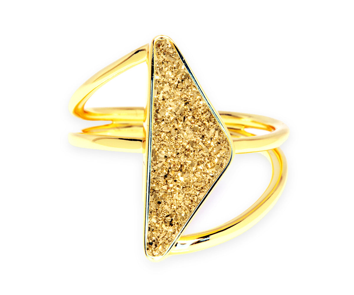 Double Twist 18K Gold Druzy Ring
