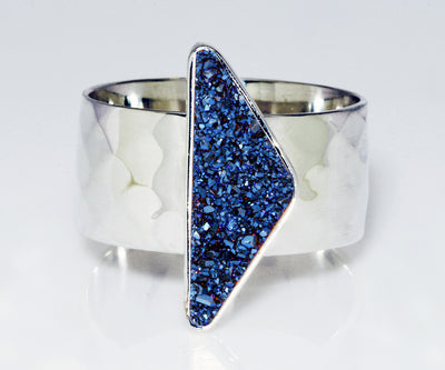 Triangle Blue Druzy Wide Ring