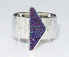 Triangle Purple Rainbow Druzy Wide Ring