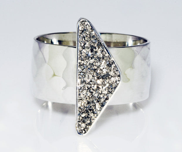 Triangle Platinum Druzy Wide Ring
