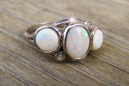old opal and diamond ring designed jewelry