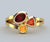 Modern Mother's Ruby, Citrine Gold Ring