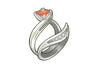 Custom Orange Sapphire Wedding Ring Set
