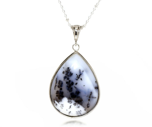 Snowy Closeup Teardrop Chalcedony Necklace