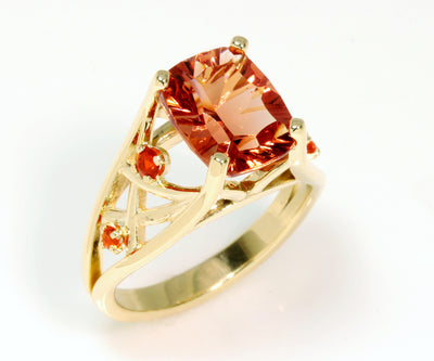 Sunstone and Fire Opal 14K Ring