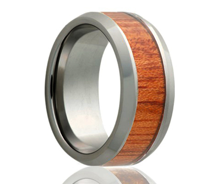 Tungsten Blood Wood Ring