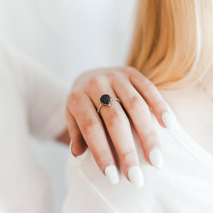 Teardrop Black Druzy Ring