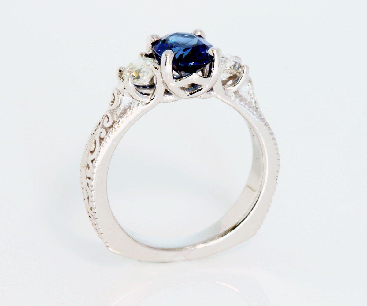 Swirl Vintage Blue Sapphire Diamond Engagement Ring