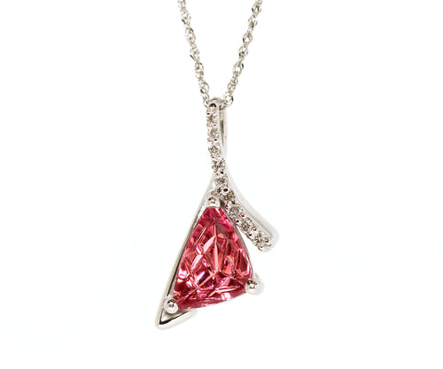 Modern Pink Tourmaline and Diamond Necklace