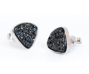 Small Triangle Black Druzy Stud Earrings