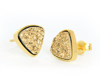 Small Triangle 18K Gold Druzy Stud Earrings