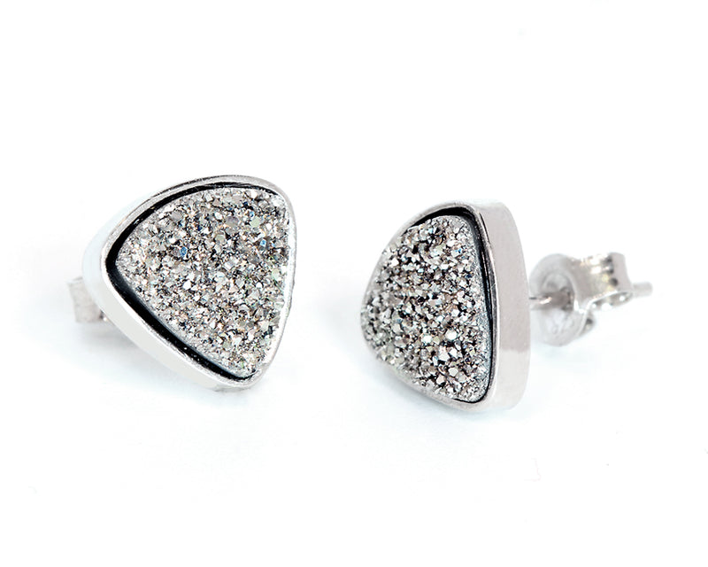 Small Triangle Platinum Druzy Stud Earrings