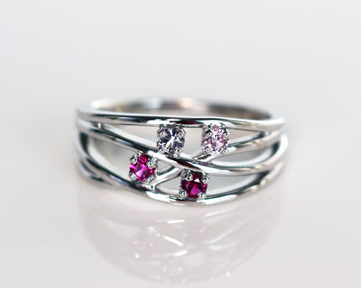 Weaved Family Birthstone Ring