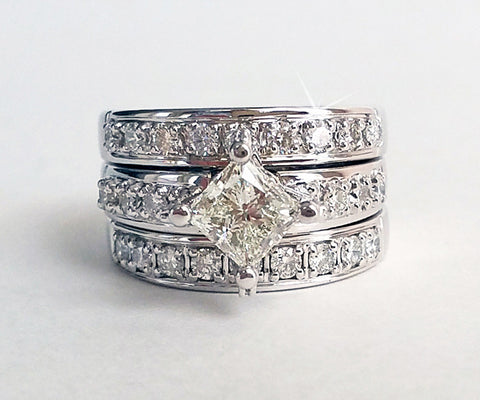 custom stacking princess cut ballpark diamond wedding ring redesign