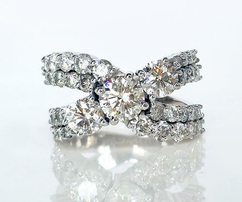 modern bypass pave diamond wedding ring contemporary