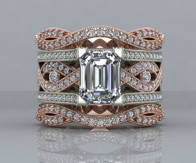 Pink and White Twist Diamond Wedding Ring