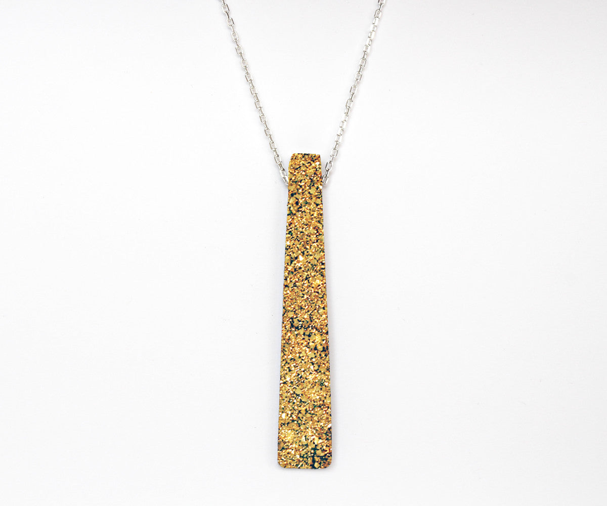 XLarge Rectangle 18K Gold Druzy Necklace