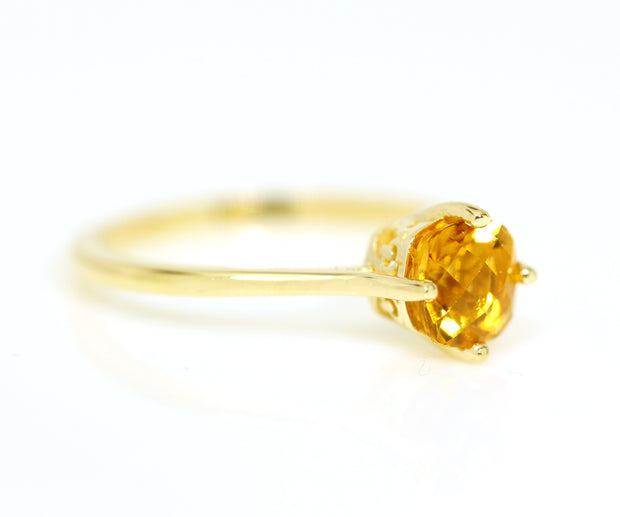 Antique Yellow Citrine Solitaire Ring