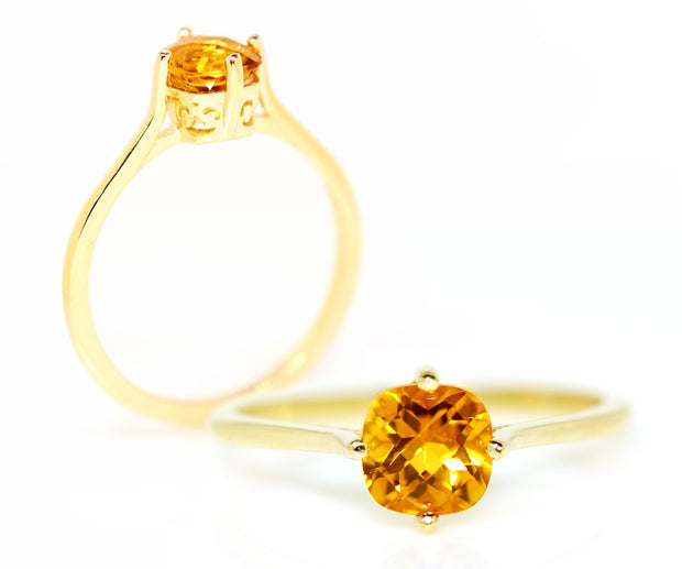 yellow gold vintage simple solitaire yellow citrine gemstone ambrosia ring