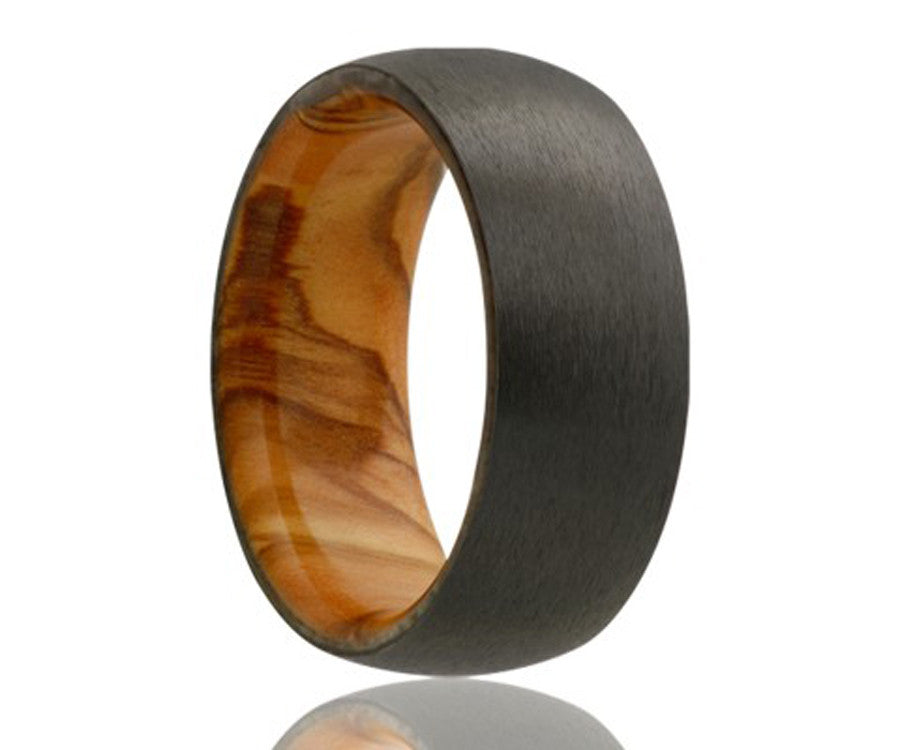 Black Zirconium Olive Wood Inlay Ring