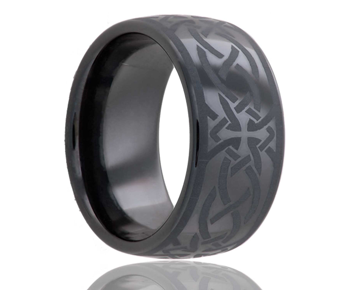Black Laser Engraved Cross Ceramic Ring