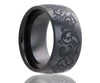 Black Laser Engraved Swirl Ceramic Ring