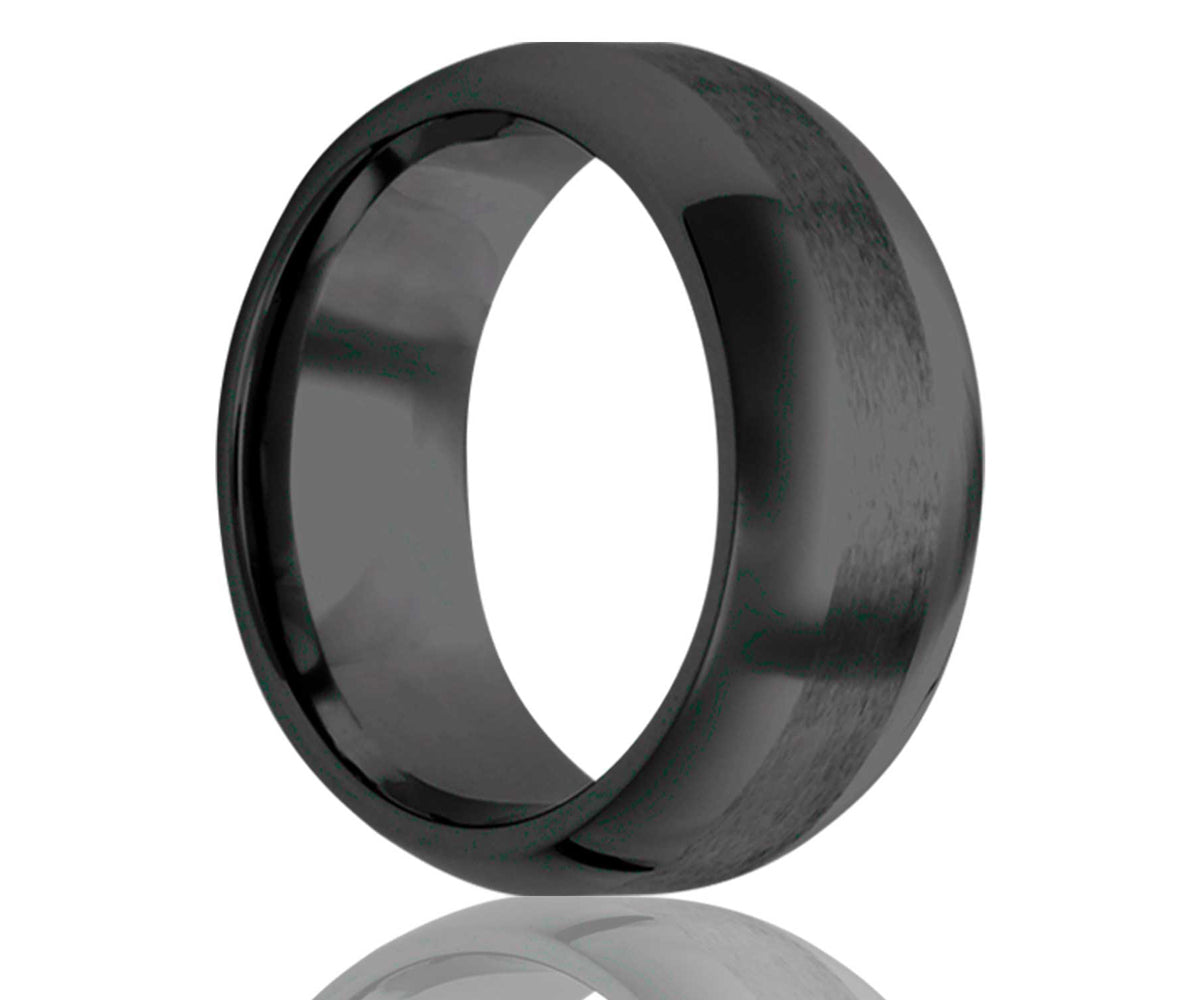 Black Satin Center Ceramic Ring