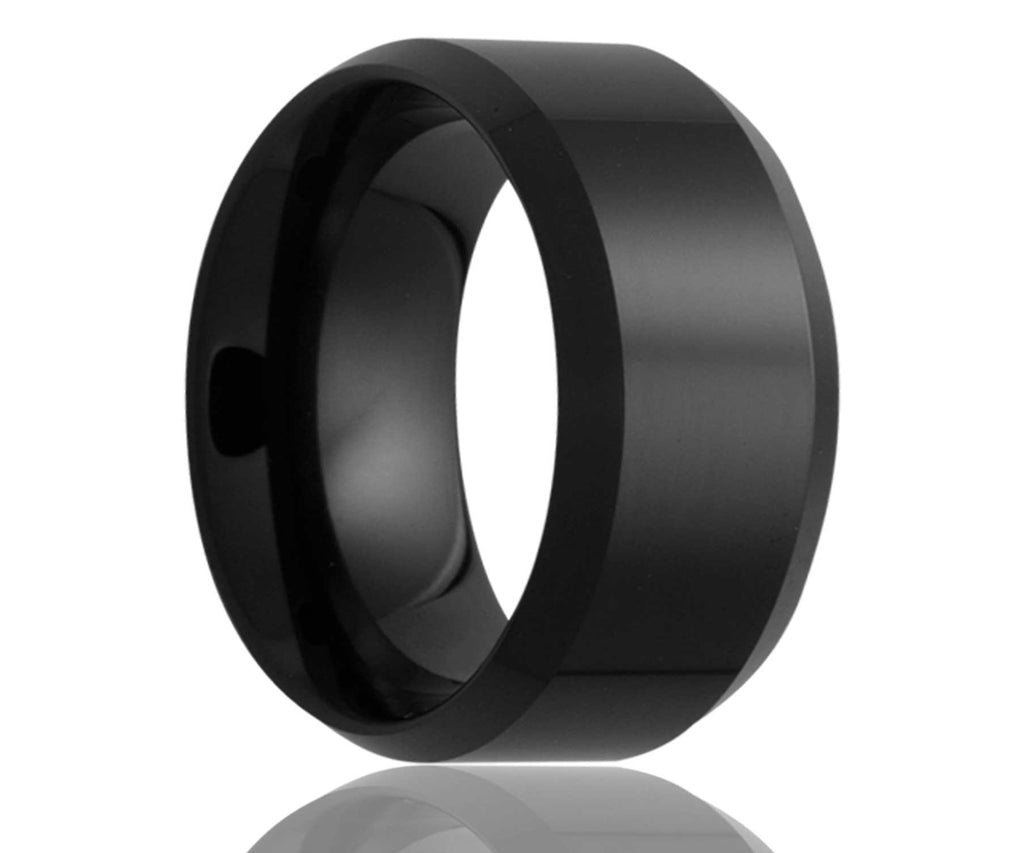 Black Beveled Edge Ceramic Ring