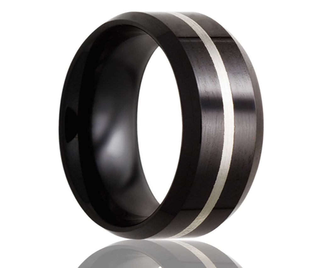 Black Beveled Edge Silver Inlay Ceramic Ring