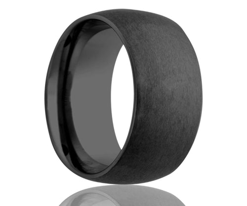Black Satin Dome Ceramic Ring
