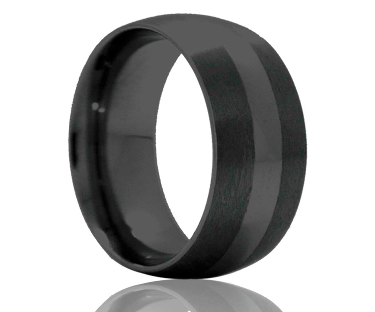 Black Satin Edged Ceramic Ring
