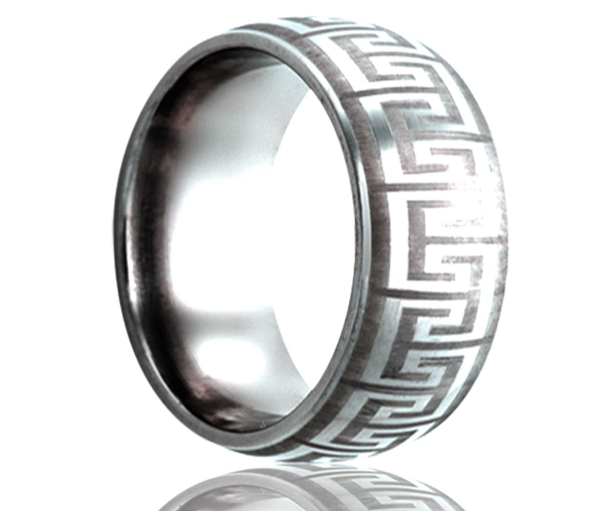Cobalt Dome Laser Engraved Geometric Ring