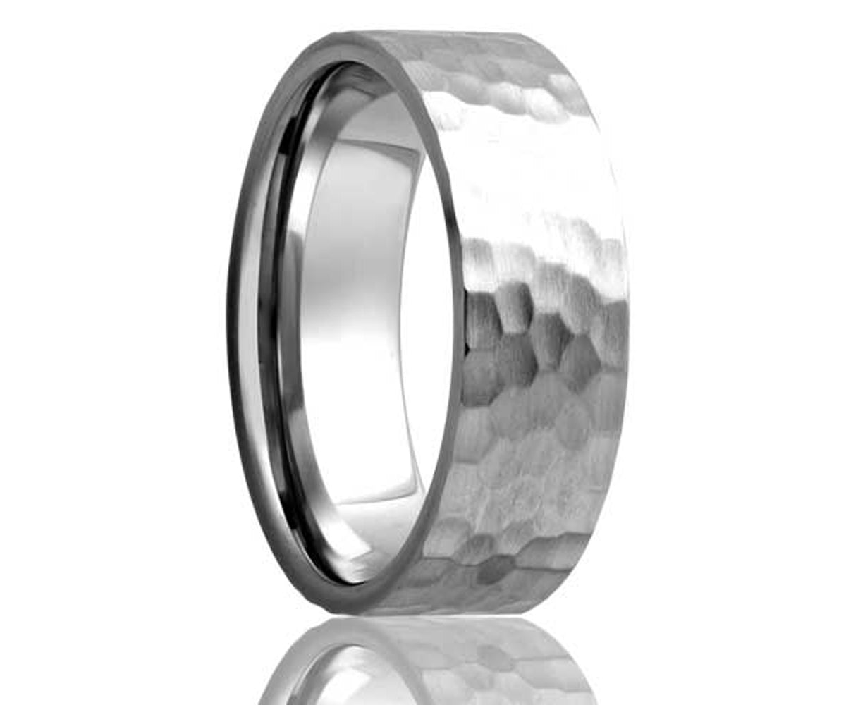 Cobalt Hammer Finish Flat Edge Ring