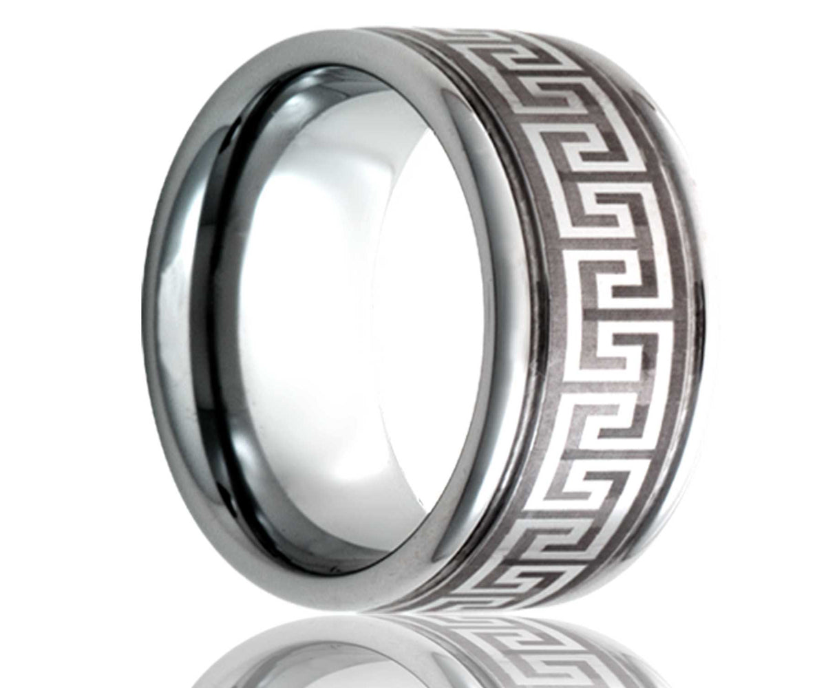Cobalt Deep Groove Laser Engraved Geometric Ring