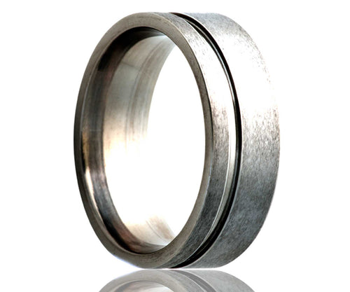 Titanium Flat Offset Groove Satin Ring