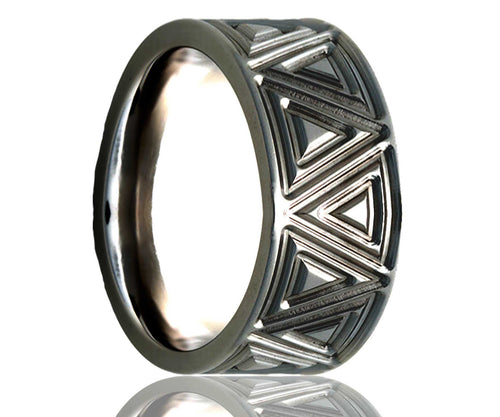 Titanium Flat Triangular Milled Ring