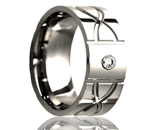 Titanium Flat Diamond Infinity Milled Ring