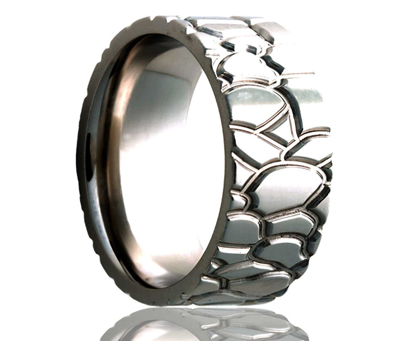 Titanium Flat Rock Milled Ring