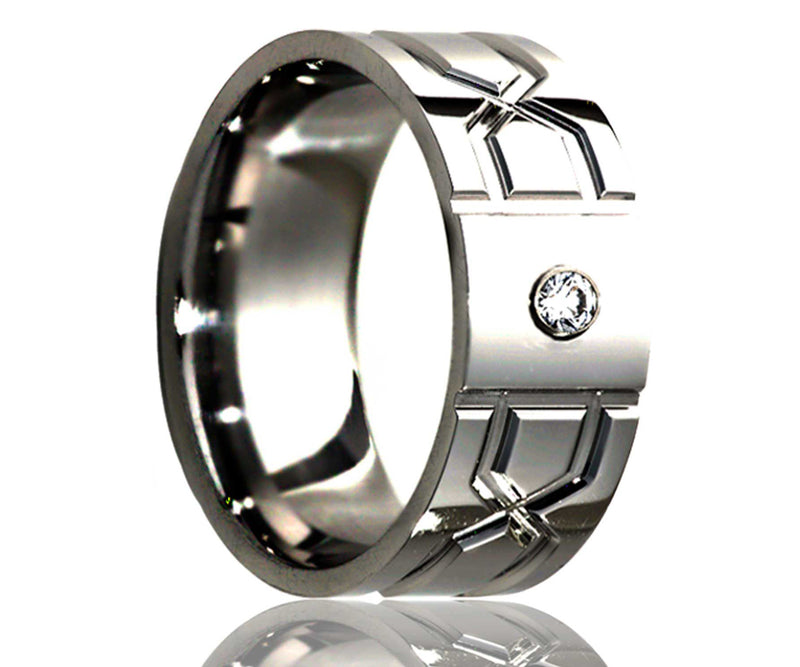 Titanium Flat Diamond Geometric Infinity Milled Ring