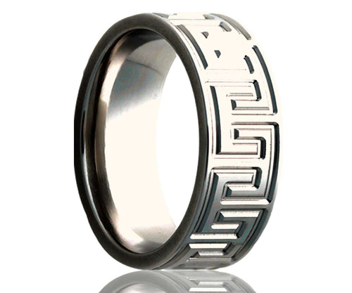 Titanium Flat Geometric Milled Ring