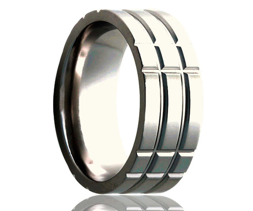 Titanium Flat Intersecting Grooves Milled Ring