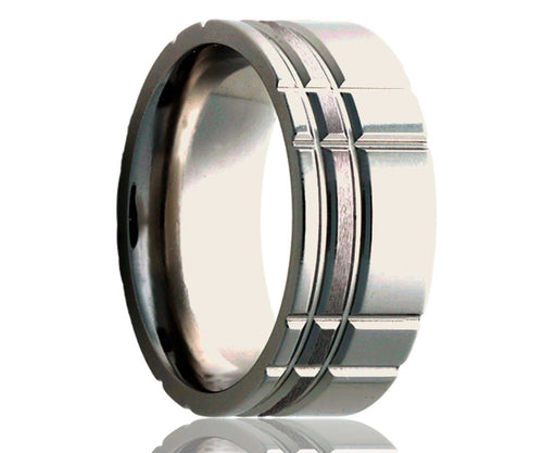 Titanium Flat Offset Intersecting Grooves Satin Milled Ring