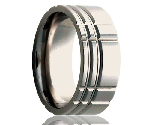 Titanium Flat Offset Intersecting Grooves Milled Ring