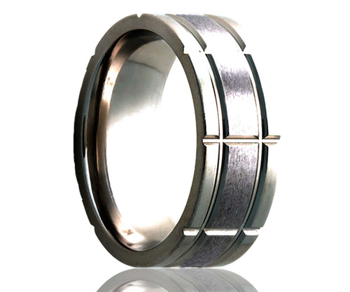 Titanium Flat Wide Intersecting Grooves Satin Milled Ring